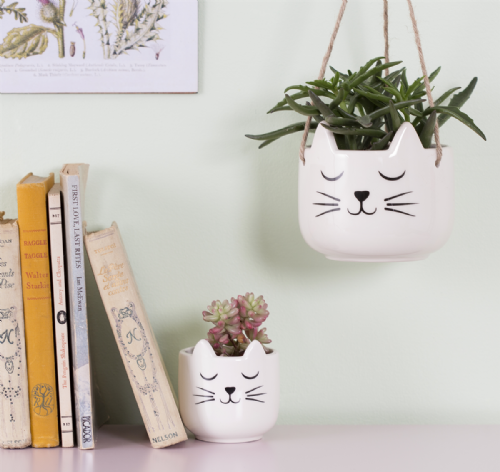 White Ceramic Cat Design Hanging Plant Pot For Houseplants